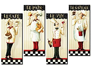 Decor Well - 4 Pieces French Chef Canvas Wall Art Print Decor for Kitchen, Chef Restaurant Wall Decor