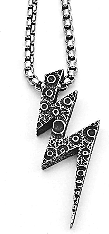PPQKKYD Collar Collar Tendencia Hip Hop Rayo Colgante Cadena Colgante Exquisito Damas Hombres Creativo Collar de Acero de Titanio Salvaje ncop
