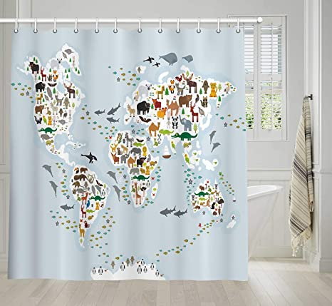 NYMB World Map Shower Curtain Kids, Map of The World Shower Curtains for  Boys Girls, Children\'s Cartoon Sea Animal Bathroom Accesorios with Shower  ...