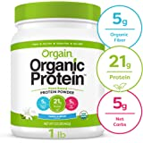 Orgain Organic Plant Based Protein Powder, Vanilla Bean - Vegan, Low Net Carbs, Non Dairy, Gluten Free, Lactose Free, No Sugar Added, Soy Free, Kosher, Non-GMO, 1.02 Pound