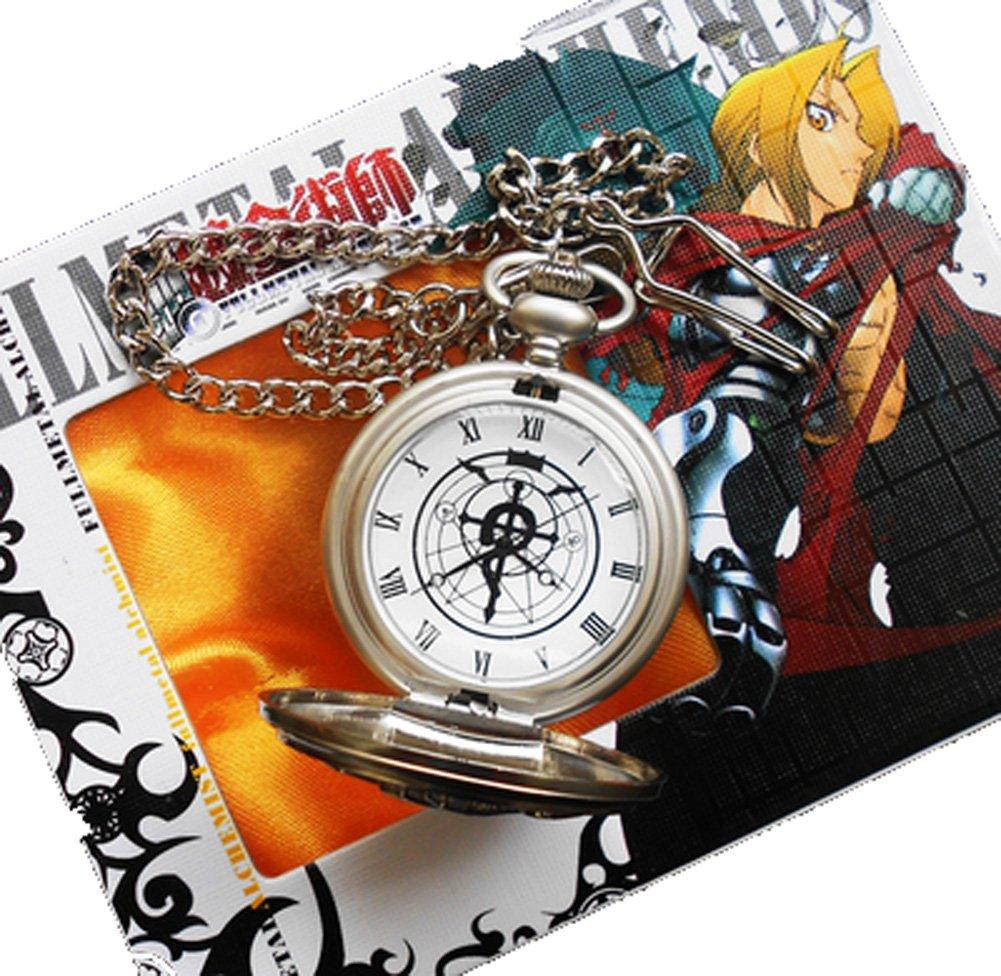 Touirch Anime Fullmetal Alchemist Edward Elric's Gift Birthday Silver White Pocket Watch Cosplay