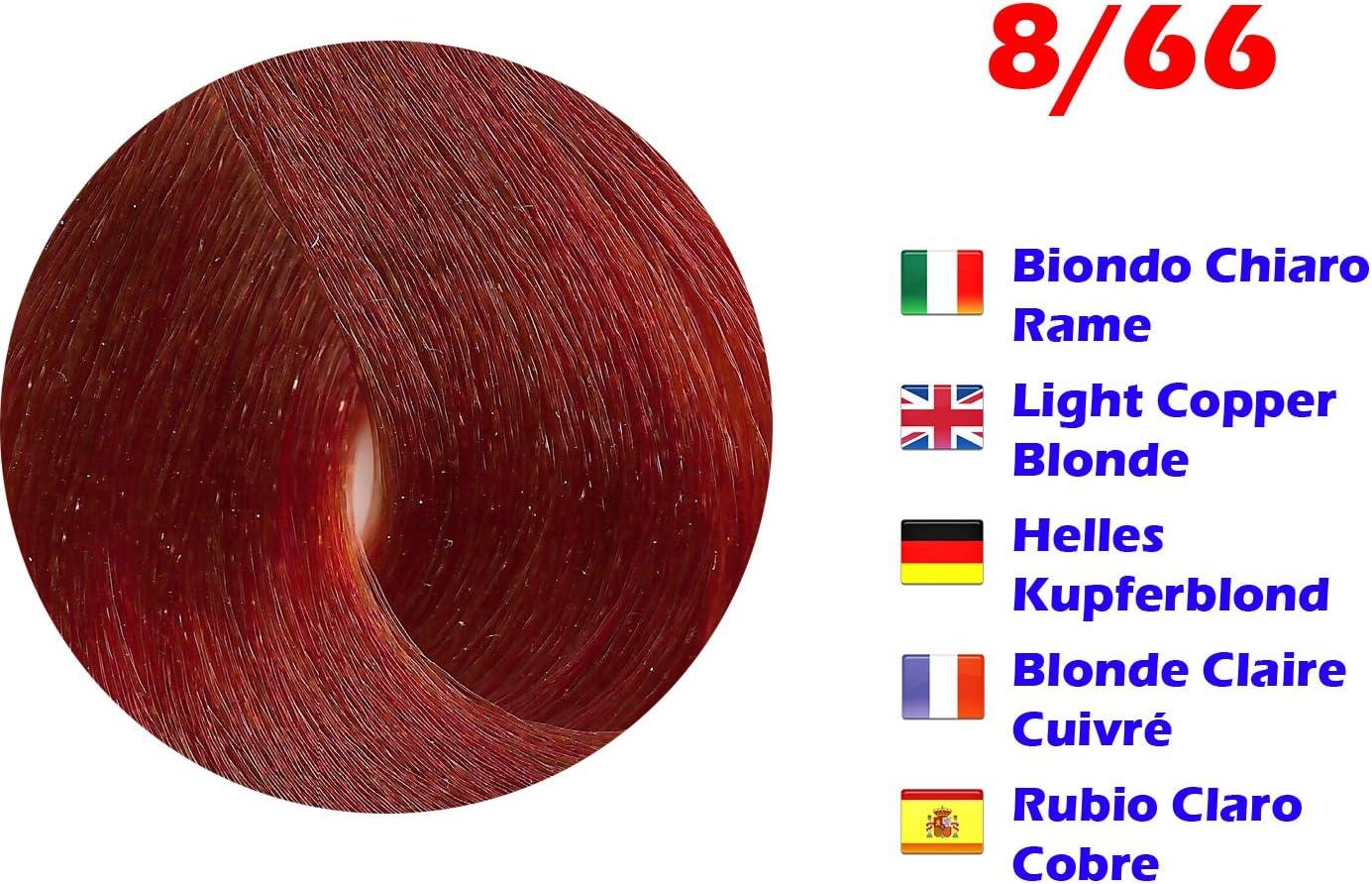 Tinte de Pelo Profesional Rubio Claro Cobre Extreme con Amoníaco 8/66 Permanente 100ml Made in Italy
