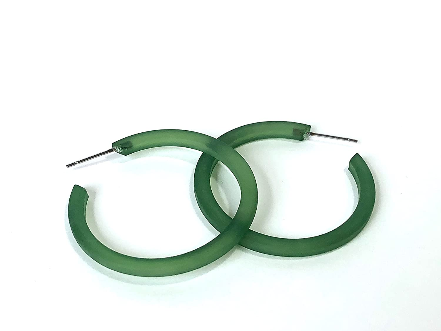 vintage frosted thread thin classic lucite hoop earrings Sea Glass Green Hoop Earrings