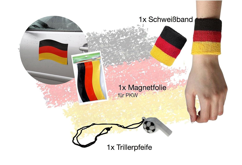 1x Schwei/ßarmband 1x Trillerpfeife 1x Magnetfolie TK Gruppe Timo Klingler XXL Auto Fanartikel Deutschland Set Autoflagge Autofahne 2X Spiegelflagge Fahne Flagge 60x90 mit Adler