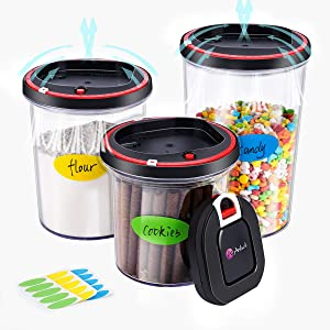 Anholi airtight seal food storage containers,vacuum pump,cookie jars,Lasting freshness food save canister set,BPA Free,3pcs,stack-able,Kitchen Pantry Organization for dry food,coffee,pasta,cereal