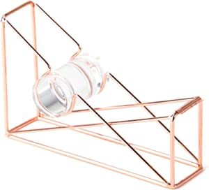 U Brands Desktop Tape Dispenser, Wire Metal, Copper/Rose Gold