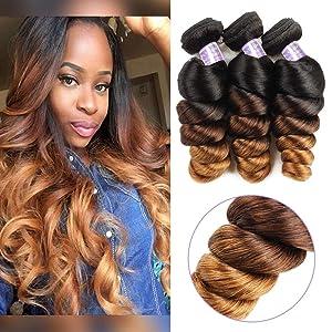 Allove Hair 10a Brazilian Ombre Loose Wave Bundles (14 16 18inch) 3 Bundles Remy Brazilian Virgin Hair 3 Tone 1B/4/27 Ombre Hair Extensions Human Hair Weave Bundles