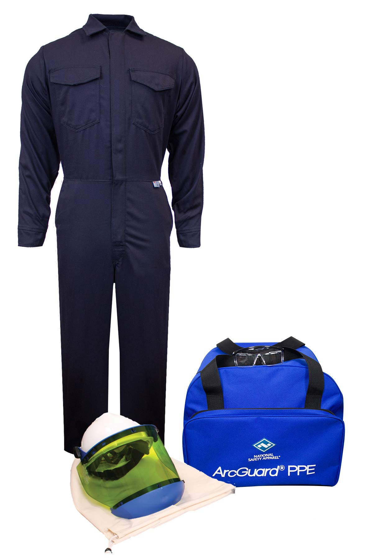 National Safety Apparel KIT2CV08NG2X ArcGuard UltraSoft Arc Flash Kit with Coverall (No Gloves), 8 Calorie, XX-Large, Navy by National Safety Apparel Inc (Image #1)