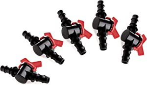 (5-Pack) Professional Grade in-Line Barbed Ball Valve 16mm for 1/2 and 5/8 Inch Tubing (.570 to .620 ID) - Regulate & Shut Off/Turn On Water Flow