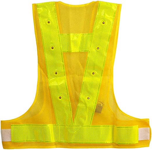 High Visibility Waistcoat Traffic Outdoor Night Warning Reflector Clothing With Reflective Stripes And LED Lights High Visibility Reflective Vests Adjustable Safety Gear LED Light Safety Vest