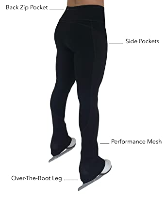 11406aa4f66b6 ColorFlow Skating   Figure Skating Practice Pants with Pockets and  Breathable Performance Mesh   Women