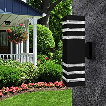 LemonBest moderno impermeable abajo de aluminio cubo LED luz de pared accesorios de doble cabeza de lámpara de pared al aire libre E27 hembra AC 85-240 V: Amazon.es: Iluminación
