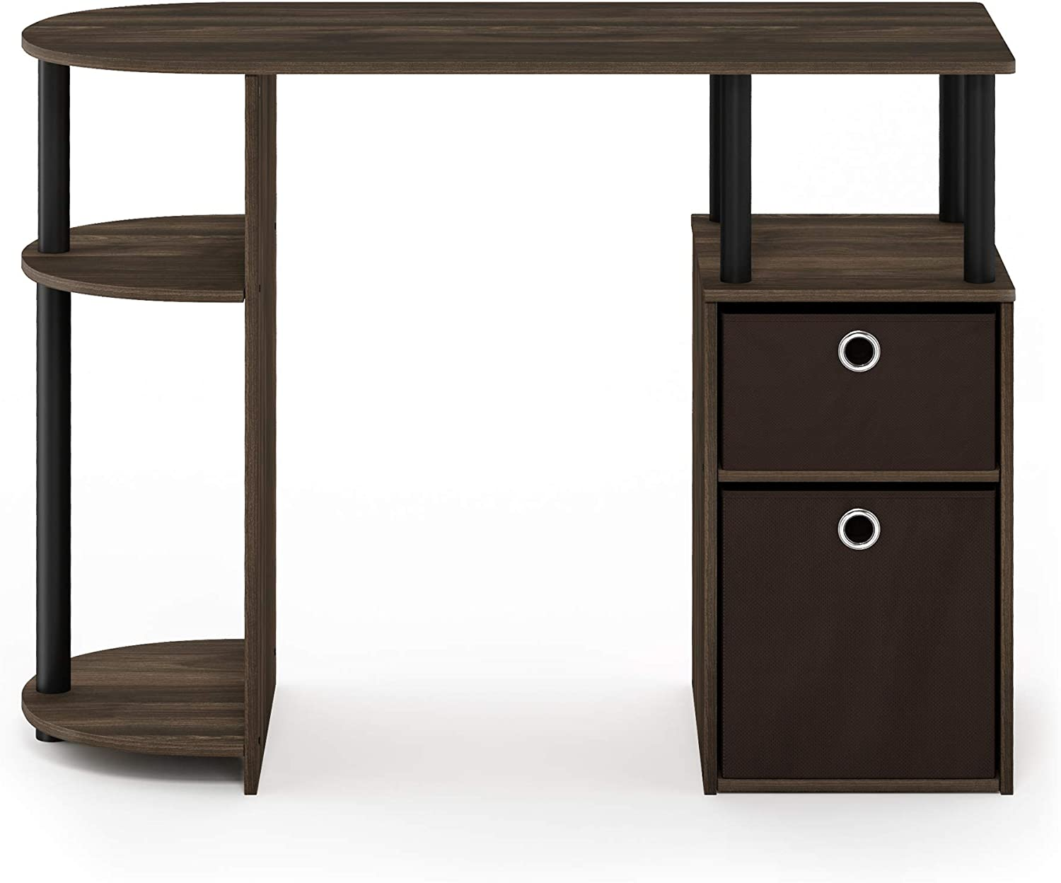 Furinno JAYA Simplistic Computer Study Desk, Columbia Walnut/Black/Dark  Brown