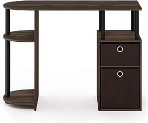 Furinno JAYA Simplistic Computer Study Desk, Columbia Walnut/Black/Dark Brown