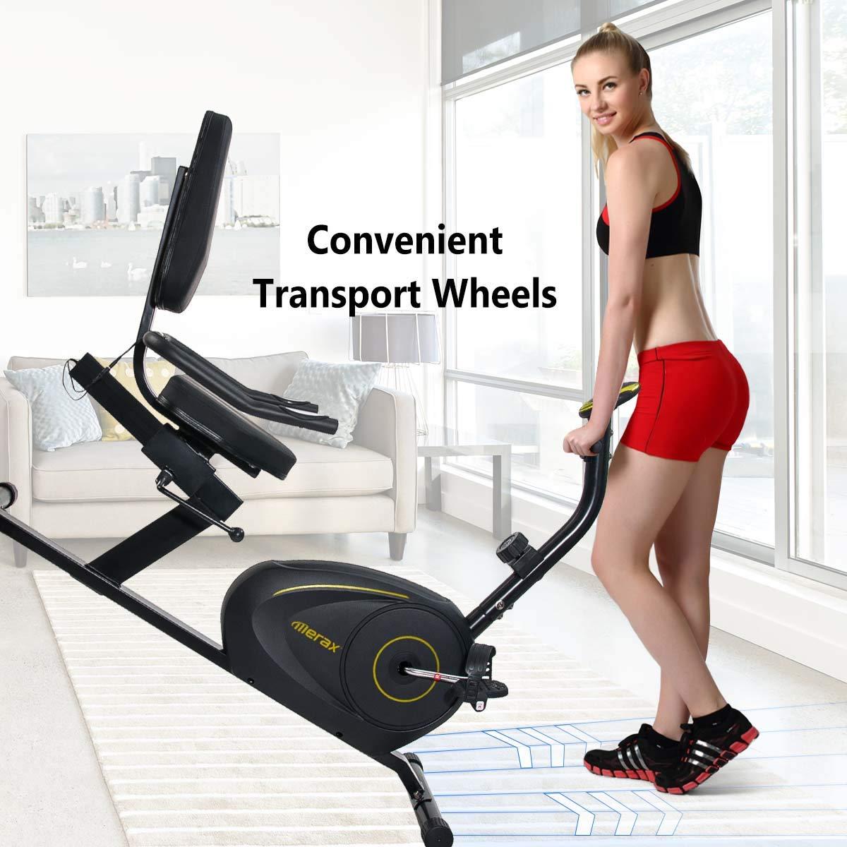 Merax Magnetic Recumbent Exercise Bike | 8-Level Resistance | Quick Adjust Seat (Black/Yellow) by Merax (Image #5)