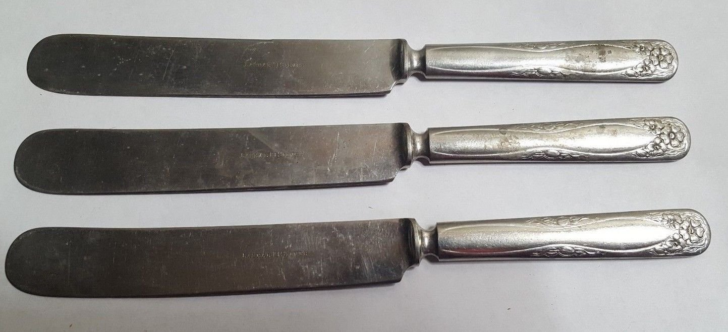 3 LASHAR Silverplate Dinner Knives