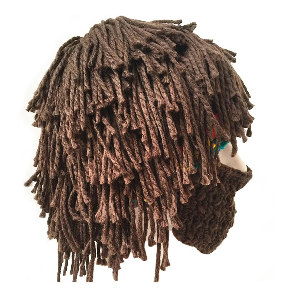 FUGUS Creative Knit Bearded Hats Handmade Beard Wig Warm Winter Caps ... 17794512fd5