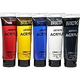 Brustro Artists Acrylic 120ml, Pack of 5 Primary Shades (Titanium White, Cad Yellow, Ultramarine, Cadmium Red & Ivory Black)