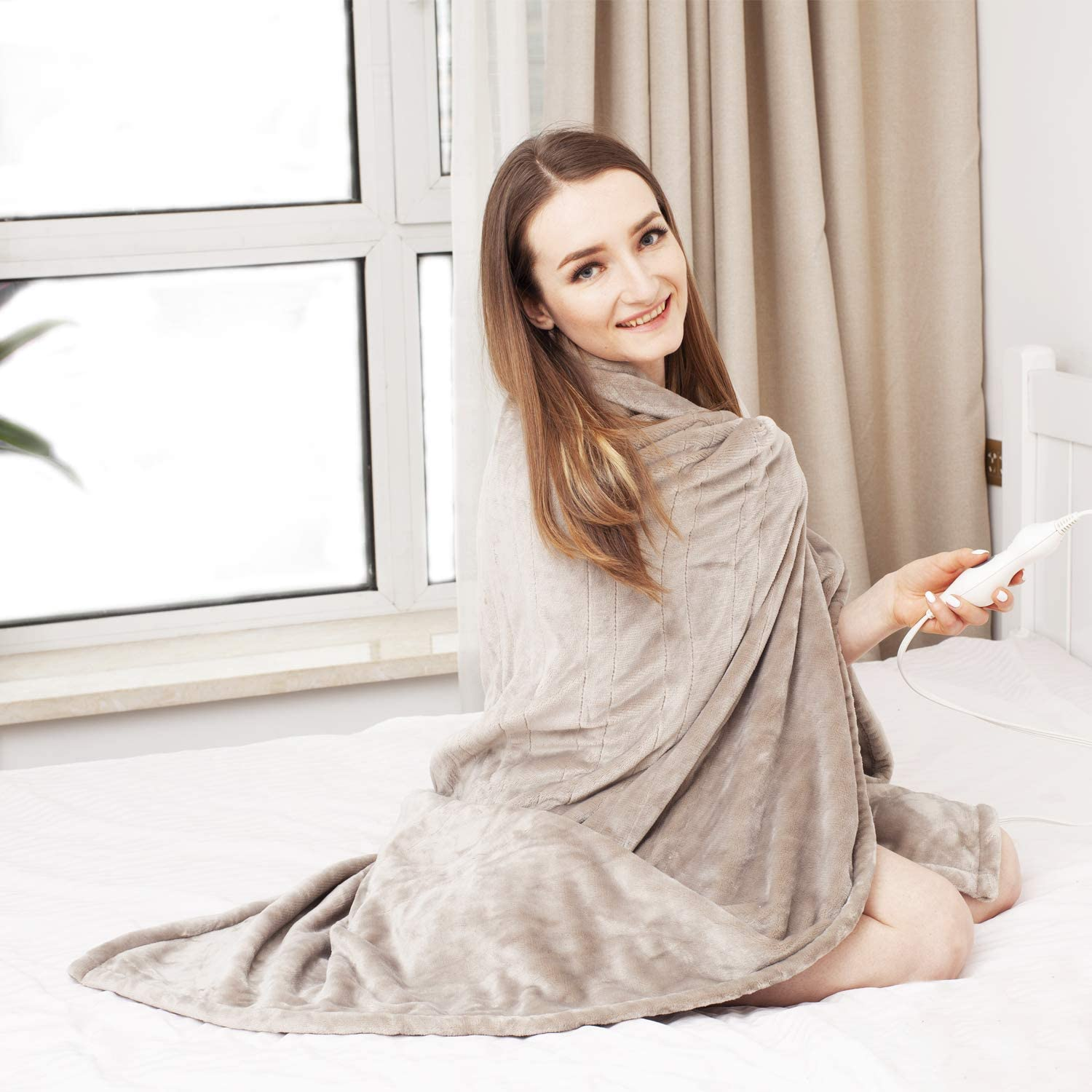 """Tefici Electric Blanket Heated Throw with Fast Heating Technology,3 Heating Levels & 4 Hours Auto Off,Home Office Use,50"""" x 60"""" Camel"""