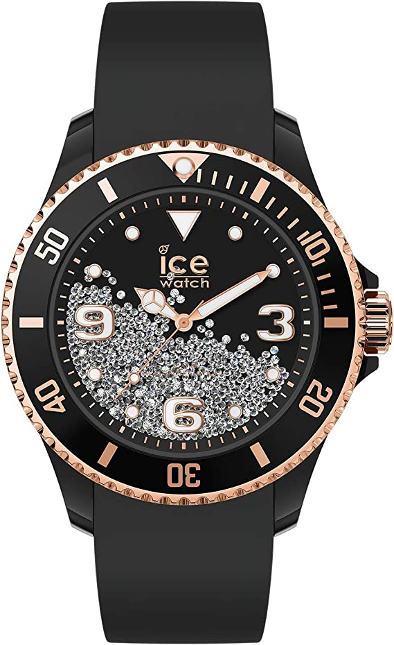 Ice-Watch - ICE crystal Black rose-gold - Women's wristwatch with silicon  strap - 017249 (Medium)