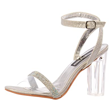 9afaedf531 Amazon.com | Onlineshoe Women's Diamante Strappy Perspex Mid Heel Party  Shoe Pumps | Heeled Sandals