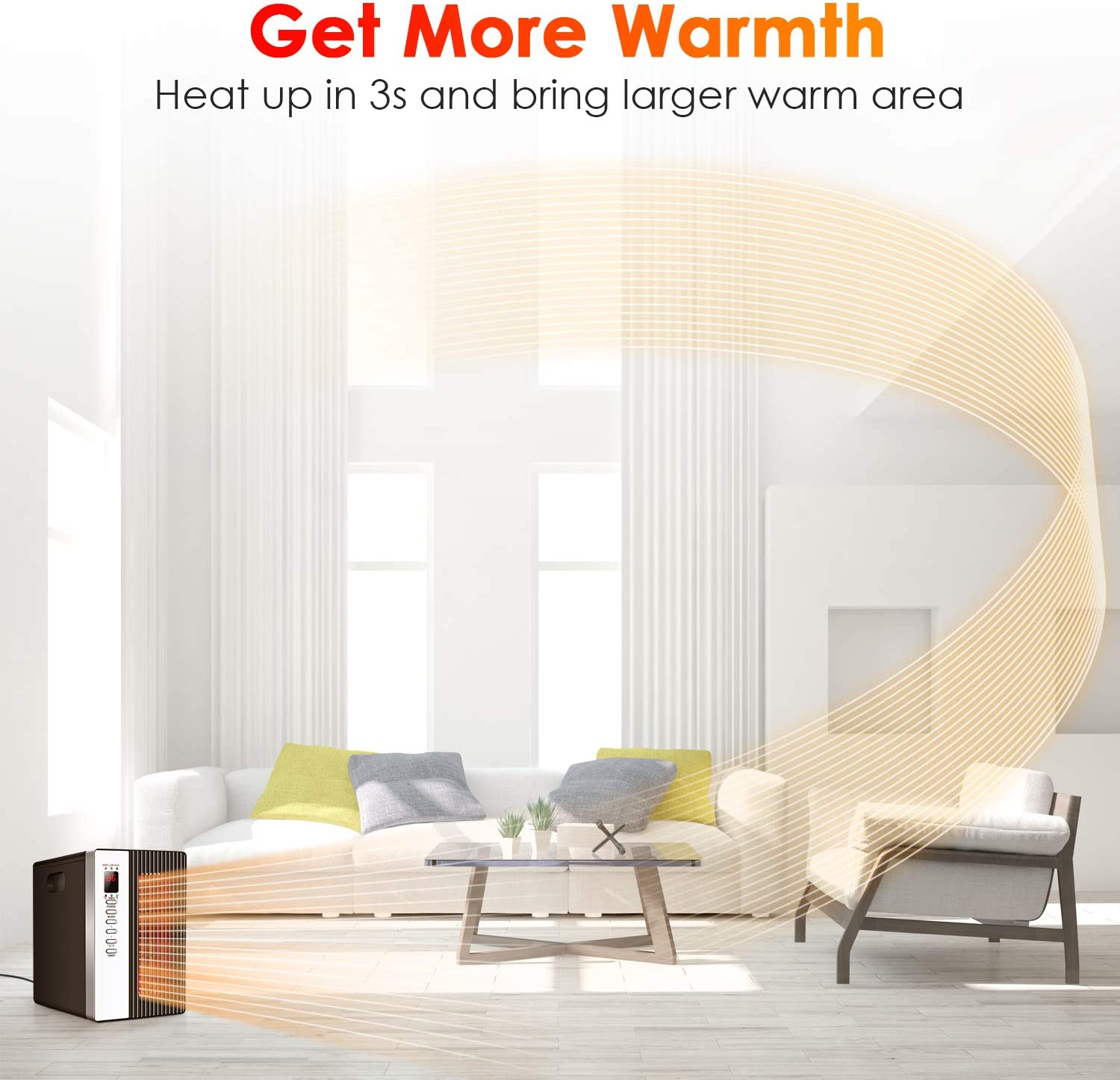 Room Heaters with Programmable Thermostat 12h Timer 1500W Electric Heater with 3 Modes Energy-Saving Indoor Space Heater for Home Portable Infrared Heater Remote Control