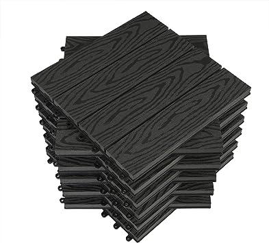 WOLTU Suelo de WPC Set de 11 Baldosas de Madera Exterior para Porche Patios Jardin, 30 x 30 cm 1m² Suelo de Exterior Compuesta Azulejos para Terraza, Jardin Antracita: Amazon.es: Bricolaje y herramientas