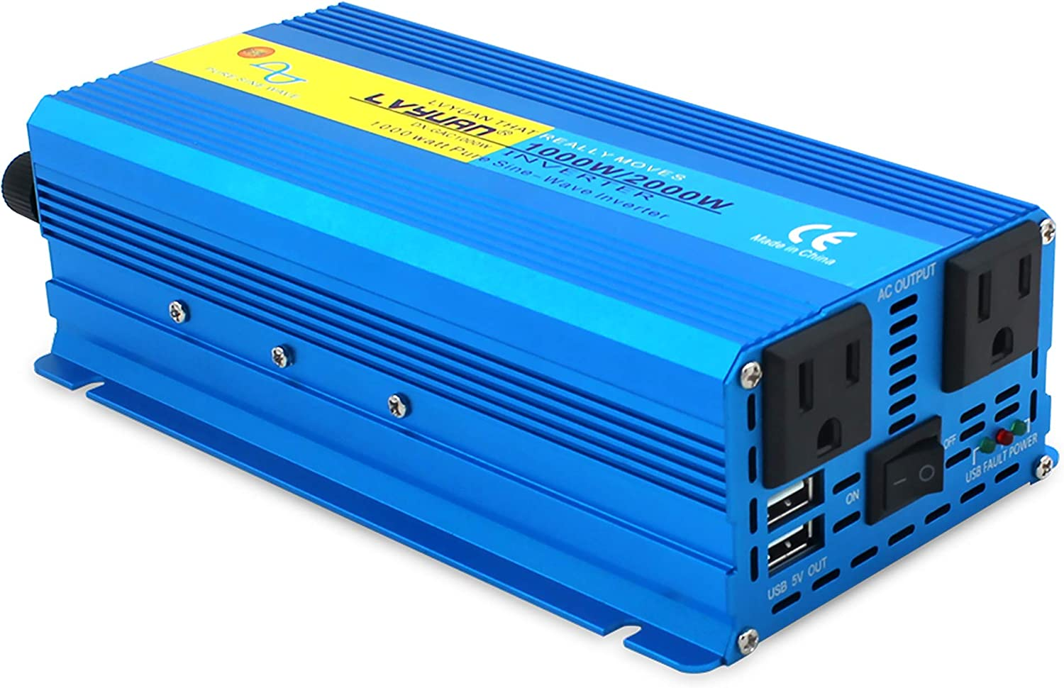 1000W Pure Sin Wave Power Inverter DC 12V to 110V AC Converter with Dual AC Outlets Comapct Size and Daul 3.1A USB Car Charger for Car Home Laptop