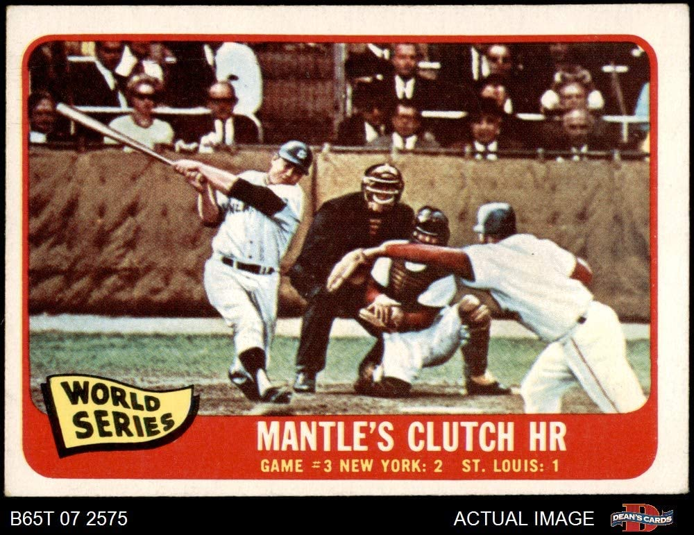 1965 Topps # 134 1964 World Series - Game #3 - Mantle's Clutch HR Mickey Mantle / Barney Schultz / Tim McCarver St. Louis / New York Cardinals / Yankees (Baseball Card) Dean's Cards 4 - VG/EX Cardinals / Yankees