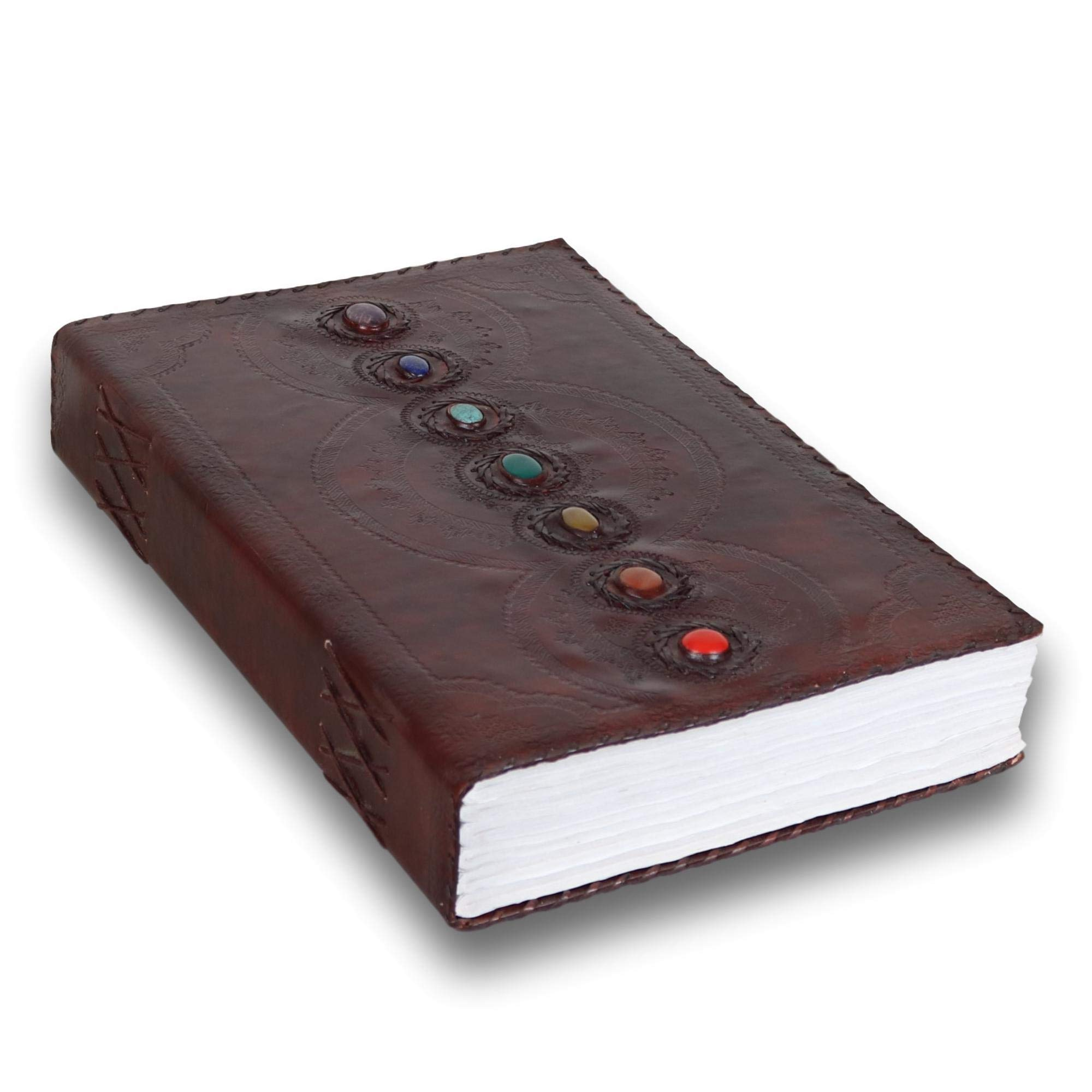 Seven Stone Leather Journal Handmade Notebook Unlined Blank 600 Pages 13 1/2 X 22 inches by  (Image #3)