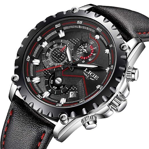 LIGE Relojes Hombres Cronógrafo Impermeable Militar Deportivo Analógico Cuarzo Relojes Hombre Moda Negro Cuero Calendario Relojes de Pulsera: Amazon.es: ...