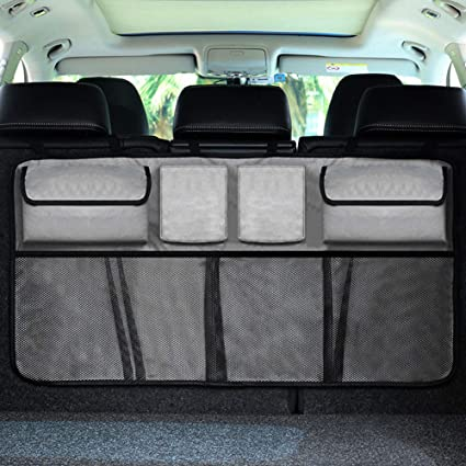 Car Trunk Storage >> Carperipher Back Seat Trunk Organizer Trunk Backseat Car Organizer Bag With Lid For Travel To Keep Car Trunk Neat 8 Large Capacity Pockets Trunk