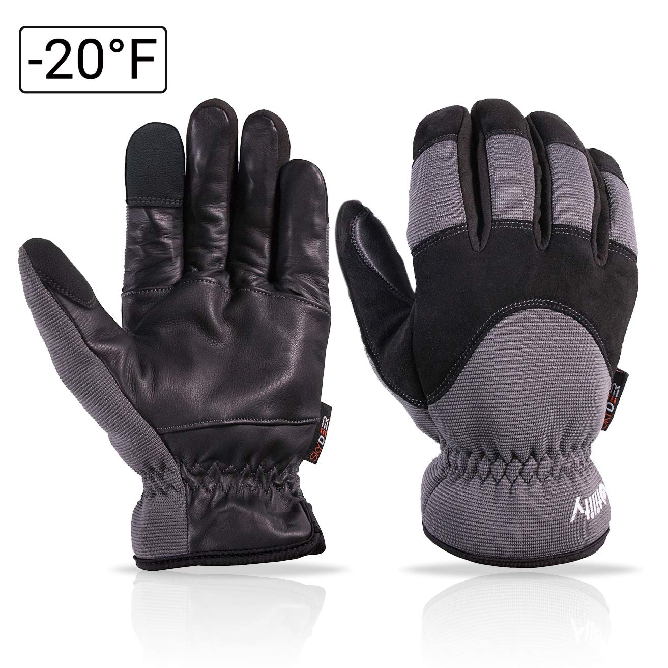 SKYDEER Genuine Leather Hybrid Winter Touch Screen Gloves with Thermal Fleece Insulation (SD2240T) SKYDEER CO.