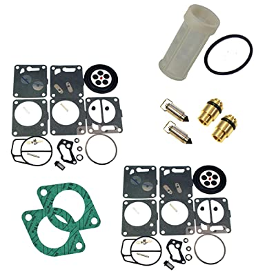 (Compatible With Sea-Doo) Premium Venom Brand Dual Mikuni Carburetor Rebuild Kit & Needle Seat & Carb Gasket With Water Separator/Fuel Filter FITS 1996-97 GSX & XP/1995-97 GTX/1997-99 SPX Complete KIT: Automotive