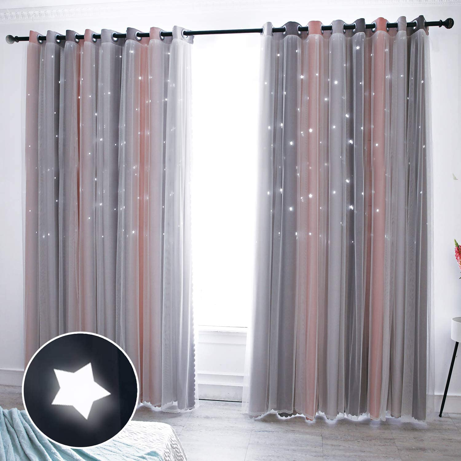 Hughapy Star Curtains Stars Blackout Curtains for Kids Girls Bedroom Living Room Colorful Double Layer Star Cut Out Stripe Window Curtains, 1 Panel -(52W x 84L, Pink/Grey)
