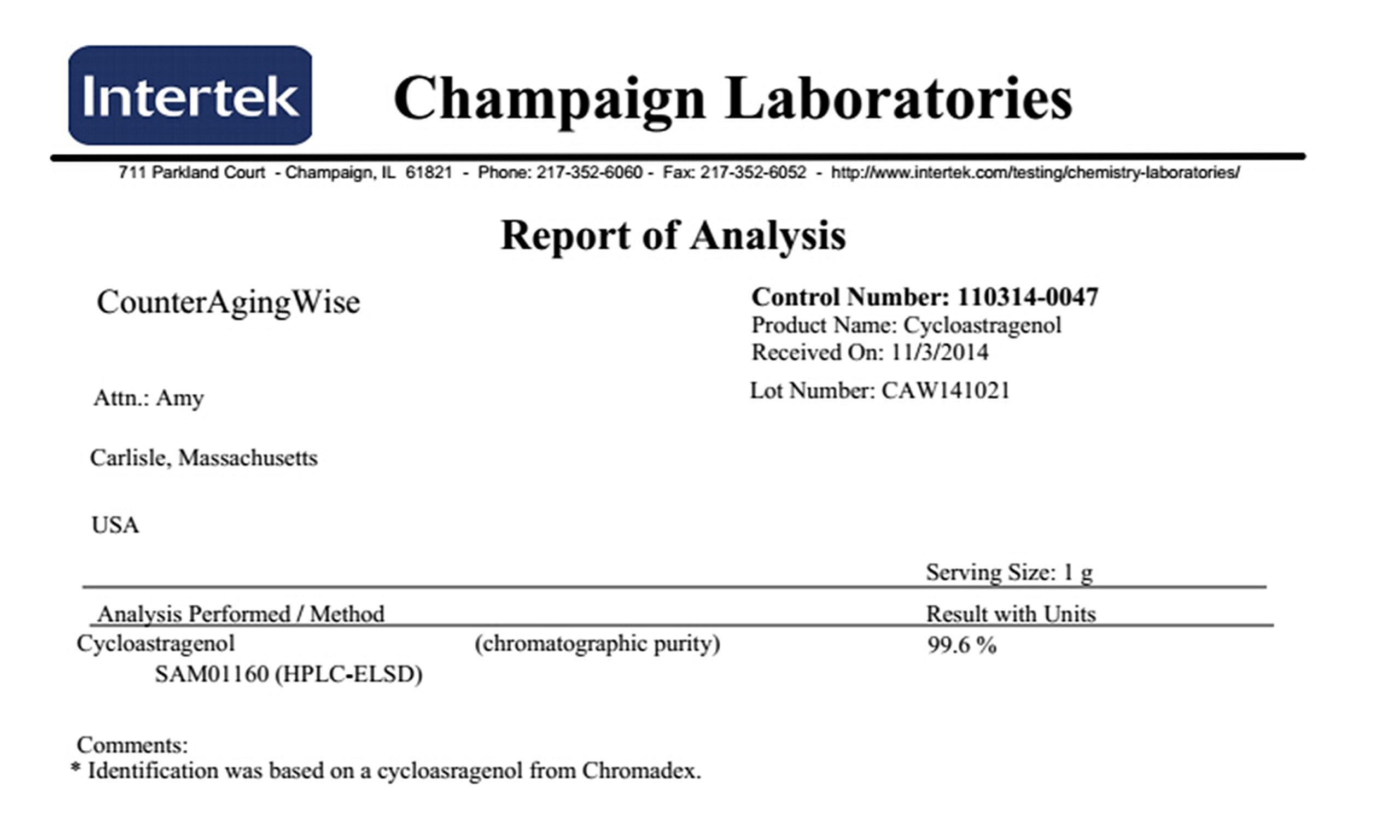 CAW Anti Aging Supplement Nano Cycloastragenol 25mg 30capsules