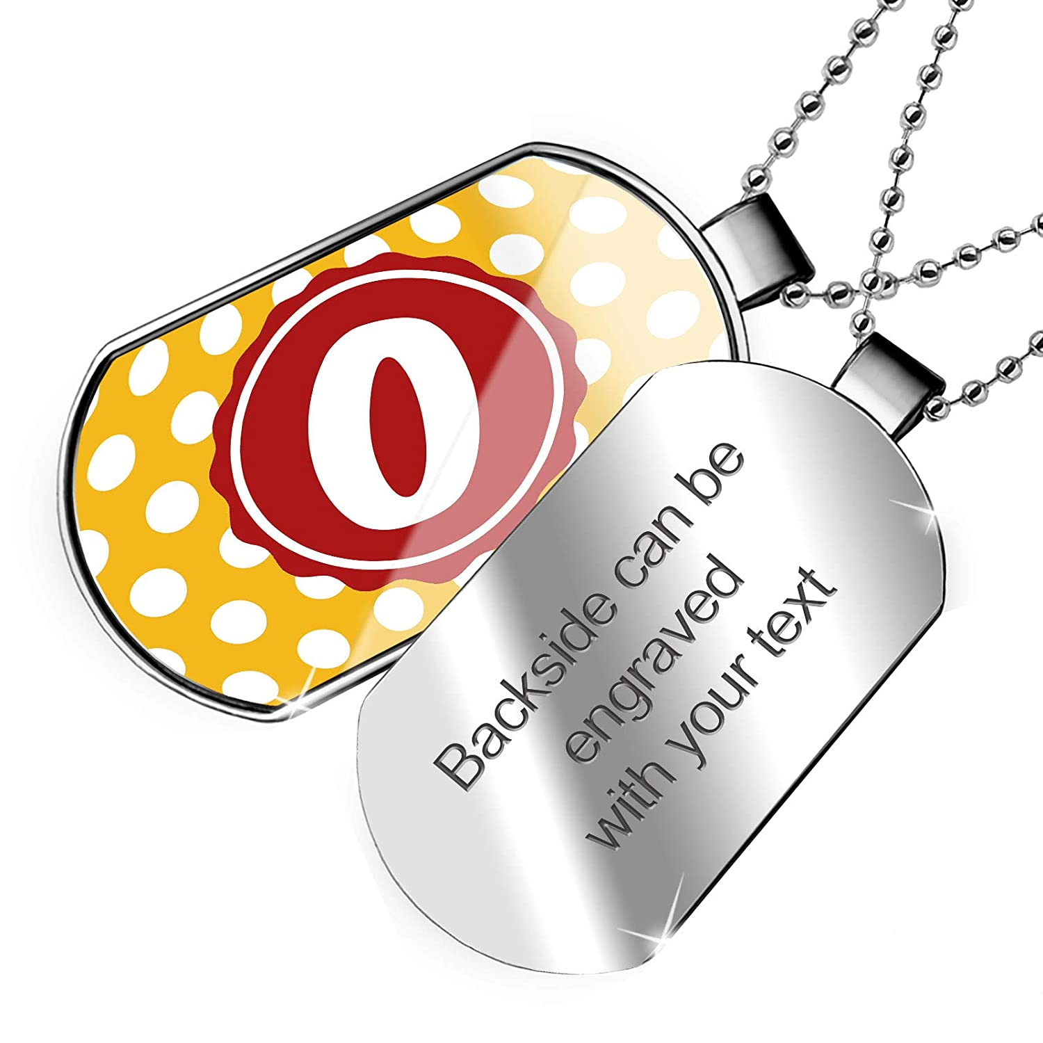NEONBLOND Personalized Name Engraved Monogram O Dark Yellow Polka Dots Dogtag Necklace