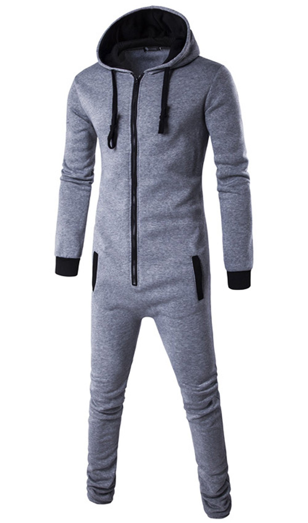 JOKHOO Men's Fashion Hooded Jumpsuit One Piece Playsuit