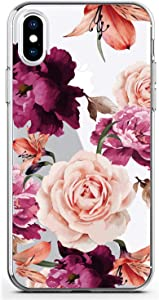 BAISRKE iPhone Xs Max Flowers Case for Girls, Slim Shockproof Clear Floral Pattern Soft Flexible TPU Back Cover for iPhone Xs Max 6.5 inch [Purple Pink]
