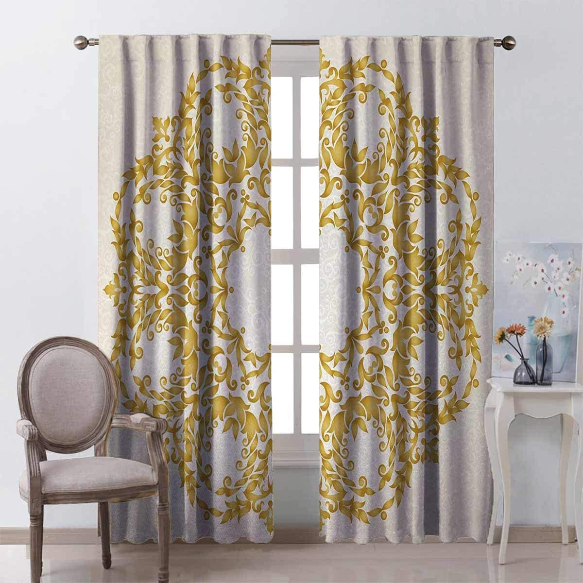 23W x 63L Blackout Shades Victorian Kids Blackout Curtains Traditional Floral Round Circle with Baroque Elements Turkish Ottoman Style Art Kitchen Decor Cream Yellow Rod Pocket Panel