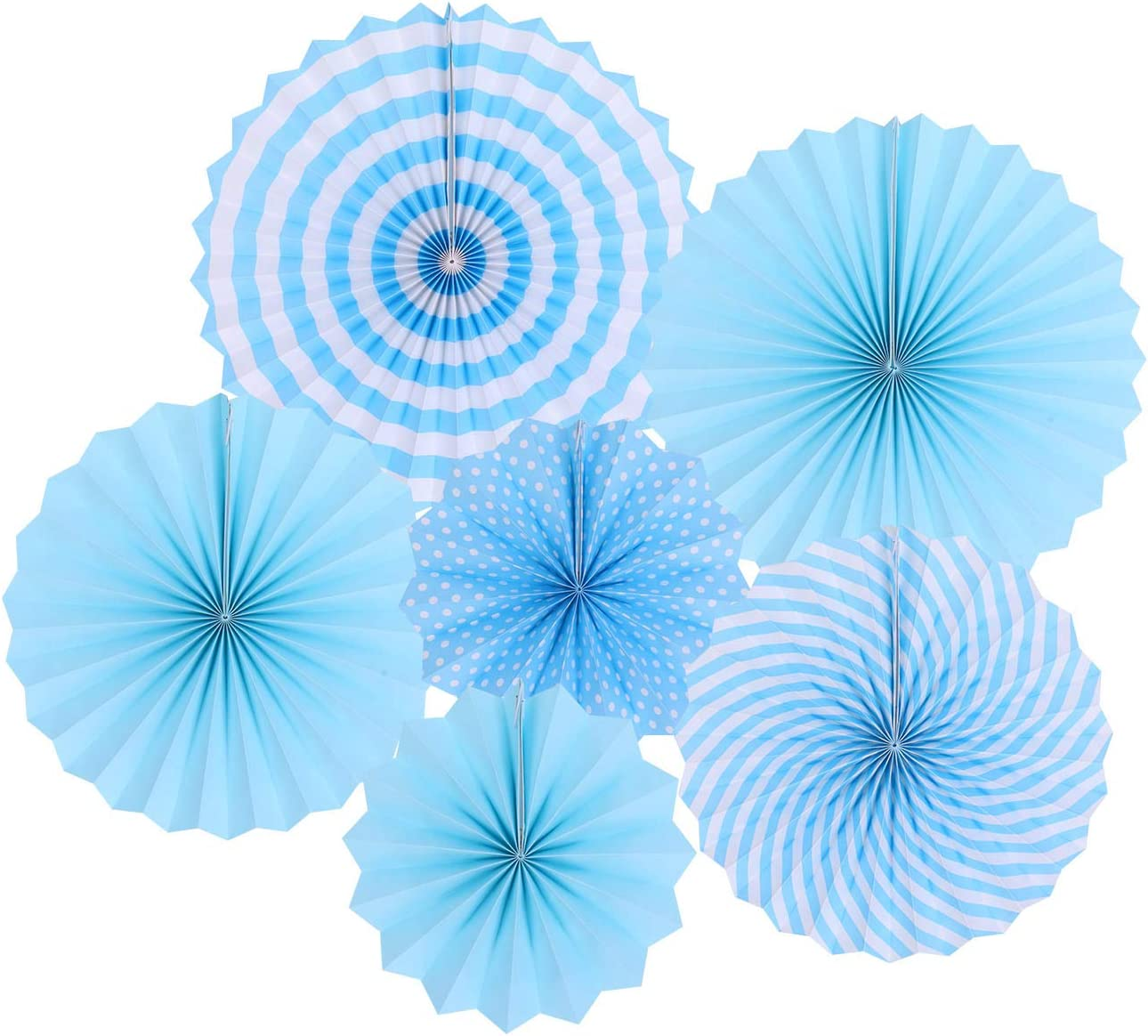 zilue Hanging Blue Paper Fans Decoration Kit Round Paper Garlands for Wedding Birthday Party Baby Showers Events Accessories Set of 6