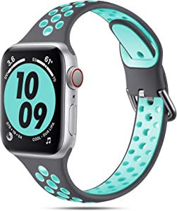 Henva Compatible with Apple Watch Band 38mm 40mm for Women Girls, Slim Soft Breathable Silicone Sport Band with Air Holes Compatible for iWatch Series SE/6/5/4/3/2/1, Gray/Teal