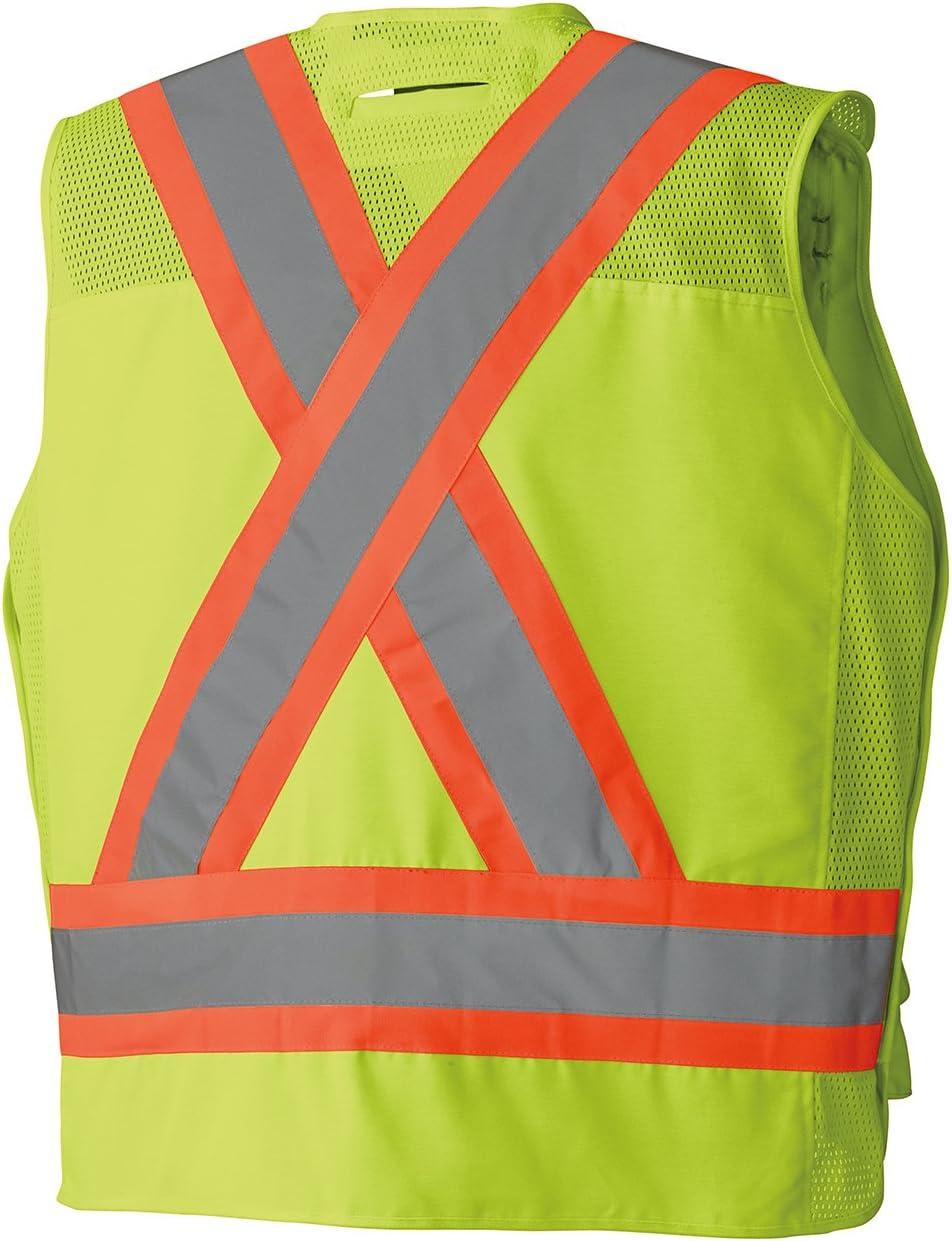 L V1010350-L Pioneer Heavy-Duty Hi Vis Surveyor Safety Vest Radio Strap 12 Pockets Orange