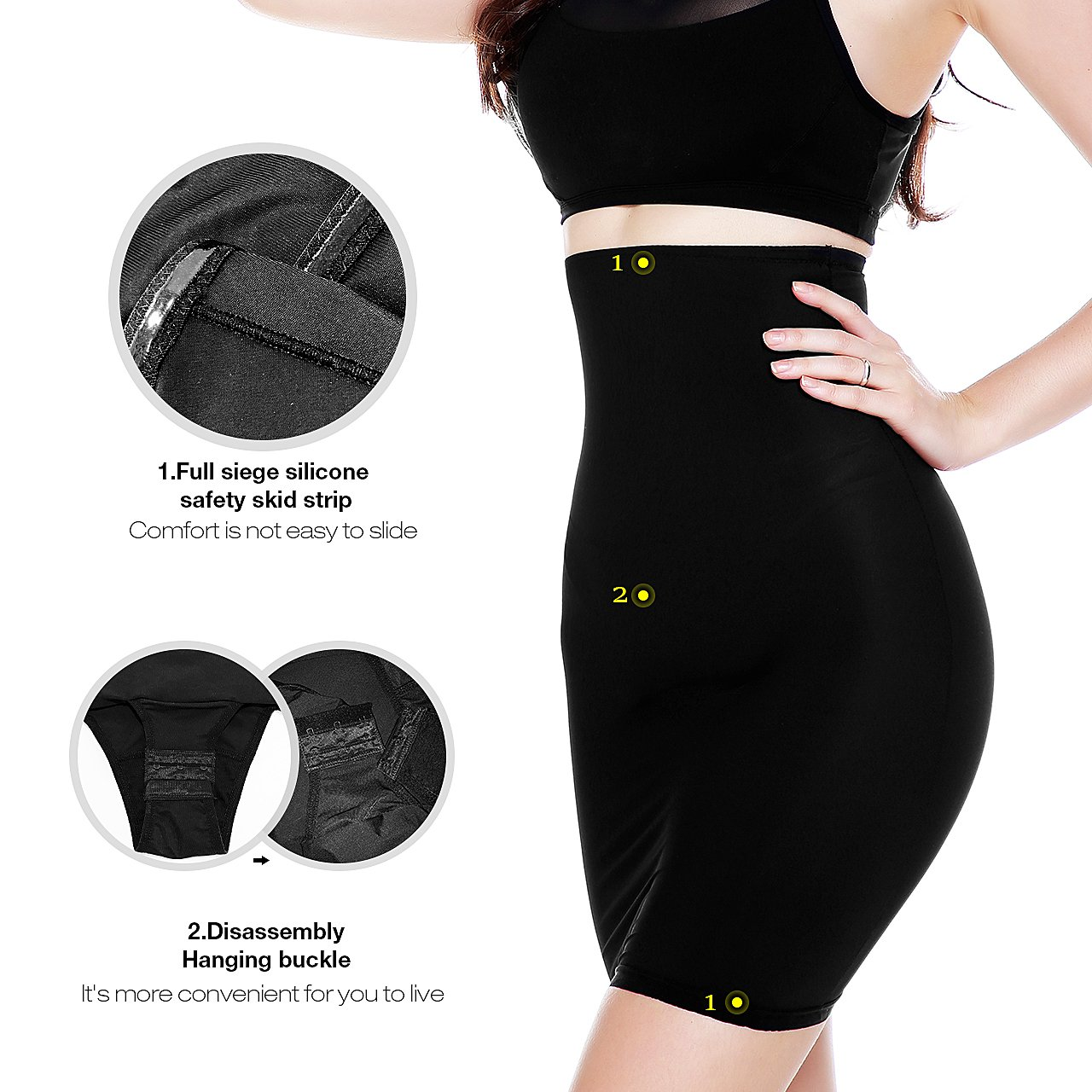 af448319ac MUKATU Women s Invisible High Waist Shaping Panty Slimming Control Skirt  Firm Tummy Control Half Slip Shapewear larger image