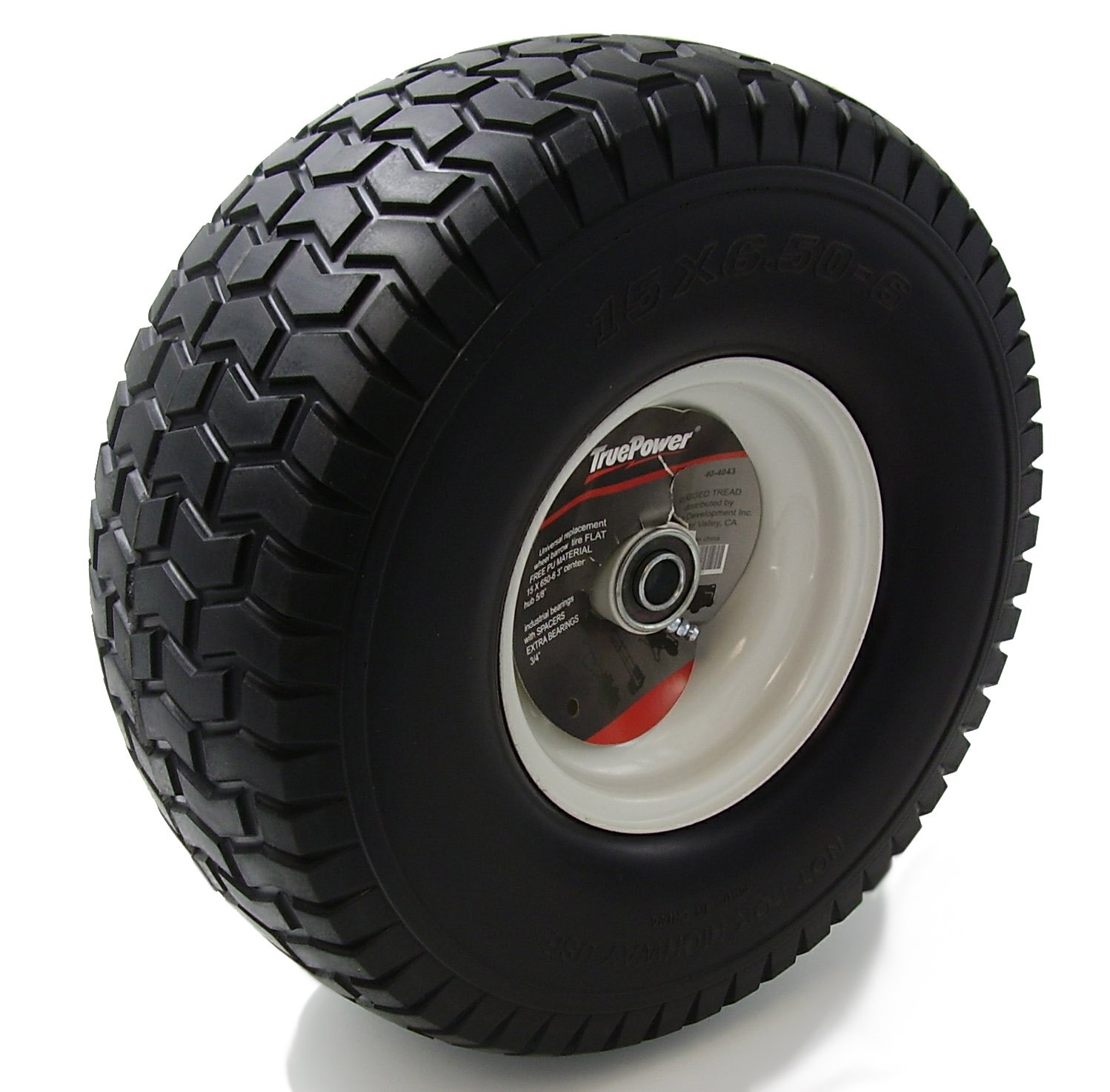 TruePower 15X6.50-6'' PU Flat Free Tire on Wheel, 3'' Centered Hub, Both 5/8'' & 3/4'' Bearings and Spacers