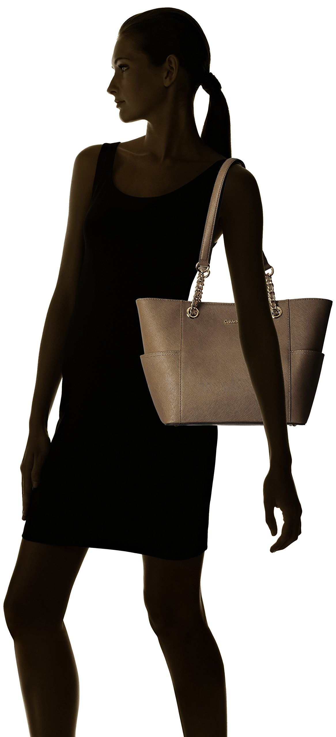 Calvin-Klein-Saffiano-Leather-Chain-Tote