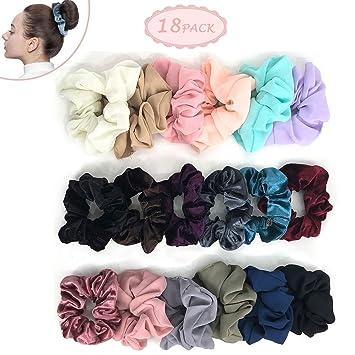 Amazon.com   18PCS Scrunchie Elastic - Chiffon Scrunchie Hair Tie Scrunchies  for Hair Vervet Ponytail Holder Ties No hurt Soft for Women or Girls Hair  ... 1049a12479e