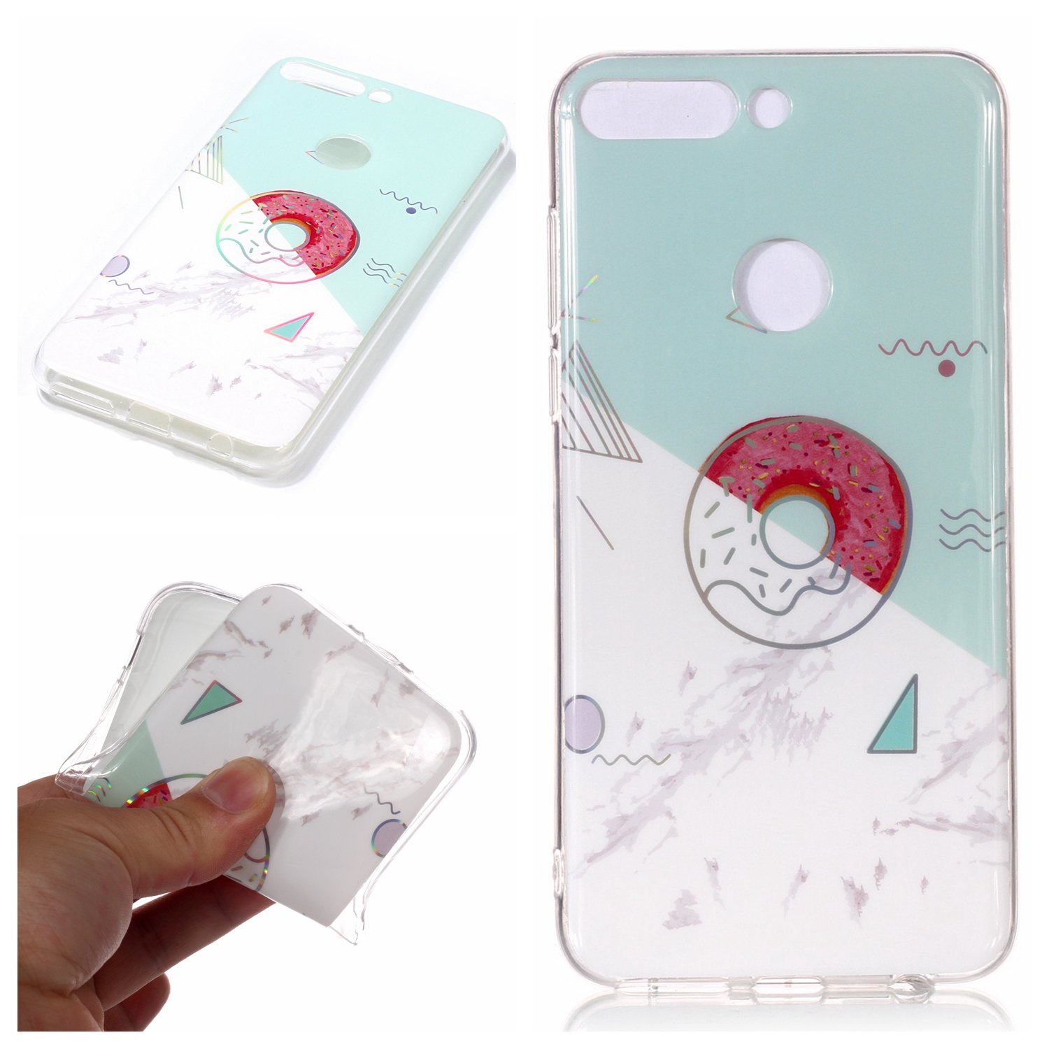 Artfeel Huawei P Smart Coque, Luxe Marbre Motif Housse Souple Flexible Silicone TPU Pare-Chocs Arriè re É tui, Ultra Mince Lé ger Anti-Rayures Antichoc Couverture, Bleu Clair Ultra Mince Léger Anti-Rayures Antichoc Couverture