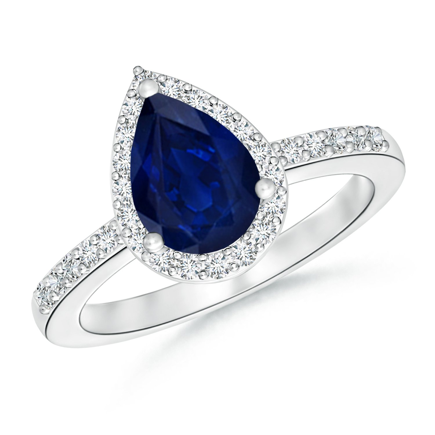 Pear Shaped Sapphire Engagement Ring with Diamond Halo in 14K White Gold (9x6mm Blue Sapphire)
