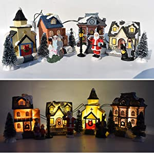 Set of 10 Resin Christmas Scene Village Collections Winter Christmas Cabin Village House Town Street Light Up Building Luminous Figurines Xmas Ornament Gift for Kids
